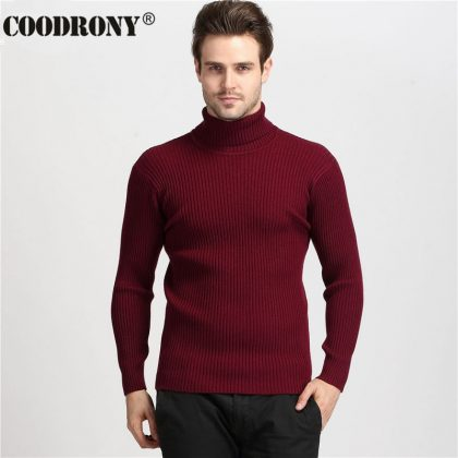 100% Cashmere Sweater Men Turtleneck