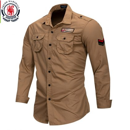 100% Cotton Military Shirt Breathable Casual Shirt