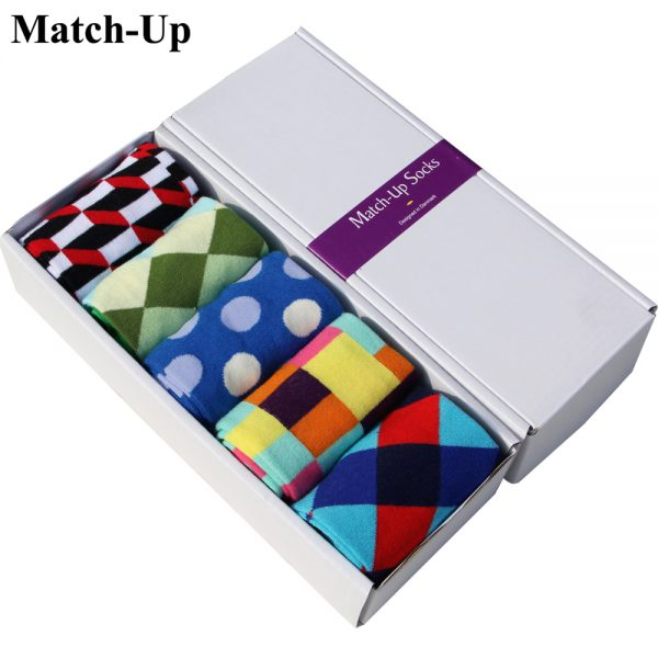 5 Pairs Men Socks Colorful Dress Socks