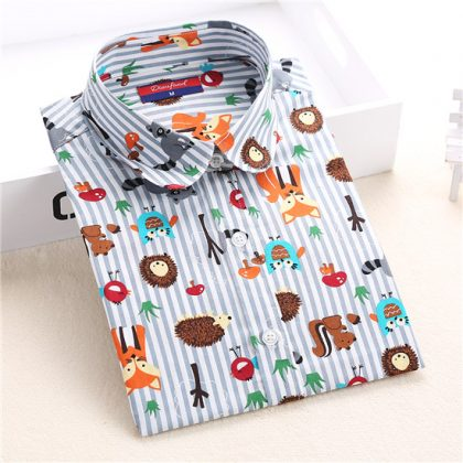 Animal Cotton Blouse Shirt Ladies Tops