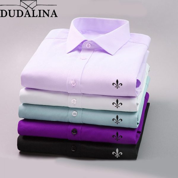 Casual Long Sleeved Solid Shirt Business Dress Shirt