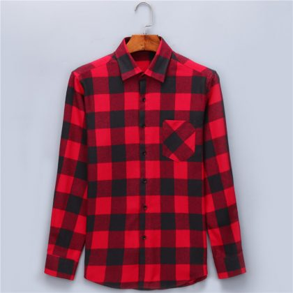 Casual Plaid Shirts Brushed Flannel Shirt