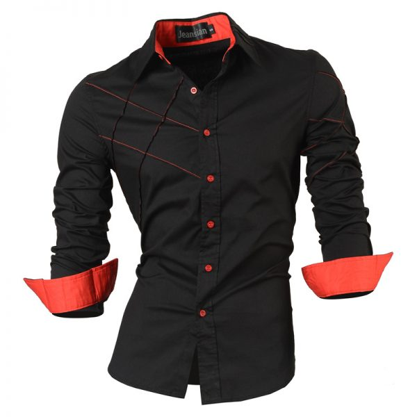 Casual Shirts Men's Clothing Social Slim Fit Shirt