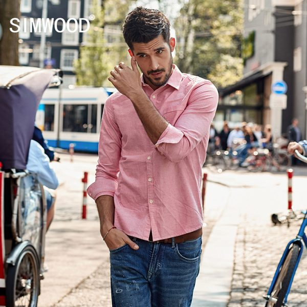 Casual Shirts Men Oxford Slim Fit Spring Shirt