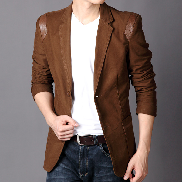 Casual Slim Fit Blazer, Fit Blazer, Leather Patchwork, Slim fit blazer