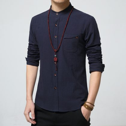 Cotton Linen Men Shirts Casual Male Shirt