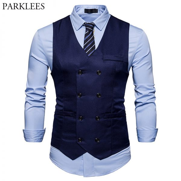 Double Breasted Suit Vest Men Gilet Homme Costume