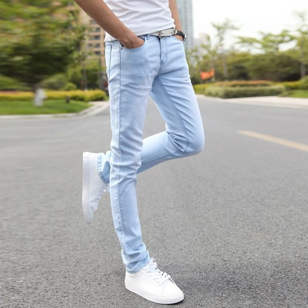 Elastic Straight Jeans Skinny Men Jean Pants