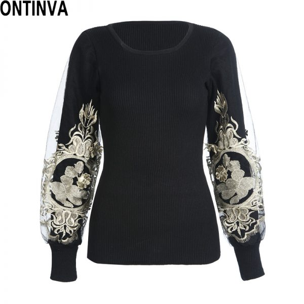 Embroidery Golden Pullover Women Slim Sweaters