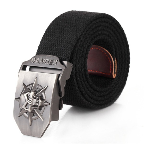 Fashion Woven Belt Canvas Belt Skull Metal