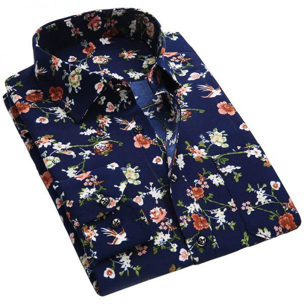 Floral Print Men Shirts Men's Casual Shirt