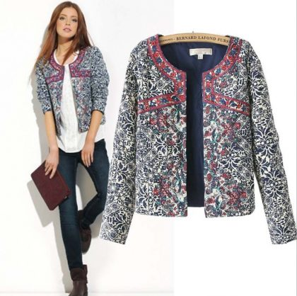 Floral Slim Jacket Coat Women Embroidery