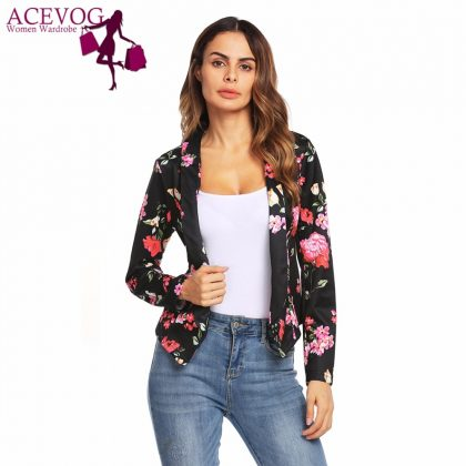 Flower Print Women Vintage Short Blazer