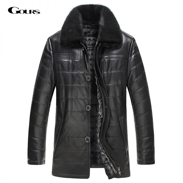 Genuine Leather Jacket Rabbit Fur Parka
