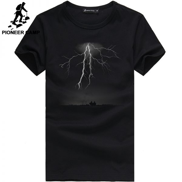 Lightning Printed T-Shirt Men Black T Shirt
