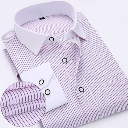 Long Sleeve Striped Shirt Men Dress Shirts