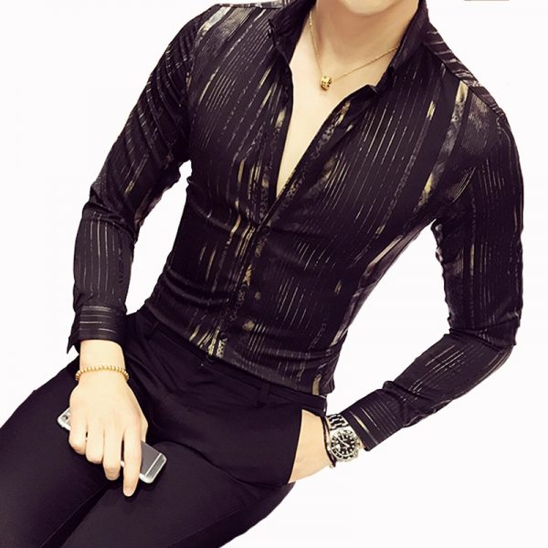 Luxury Gold Shirt Night Bar Stage Clothing Male Shirt