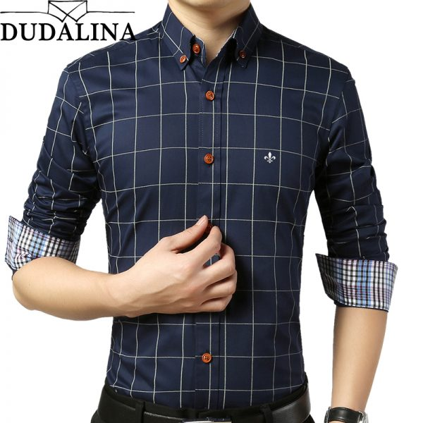 Male Plaid Shirt Slim Fit Men Long Sleeve Shirt