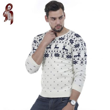 Men's Fashion Animal Print Sweater V-Neck