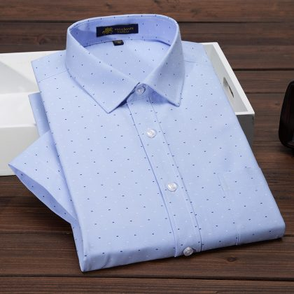 Men's Short Sleeve Shirt Oxford Print Dress