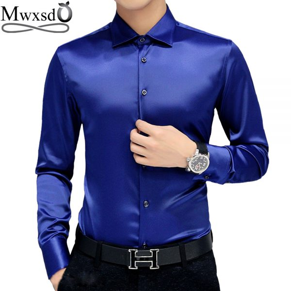 Men's Tuxedo Dress Shirts Silk Soft Shirt