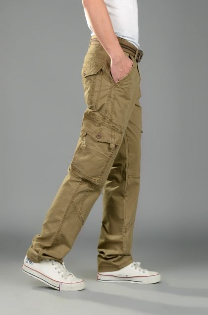 Men Cargo Pants Regular Cotton Trousers