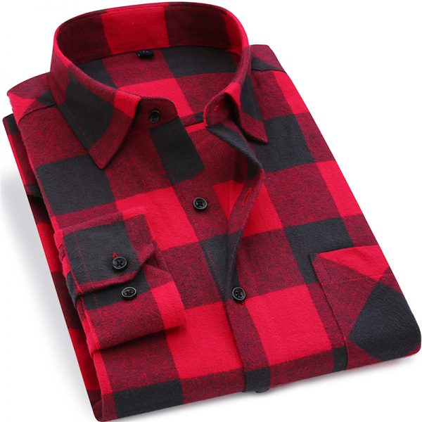 Men Flannel Plaid Shirt Long Sleeve Shirt