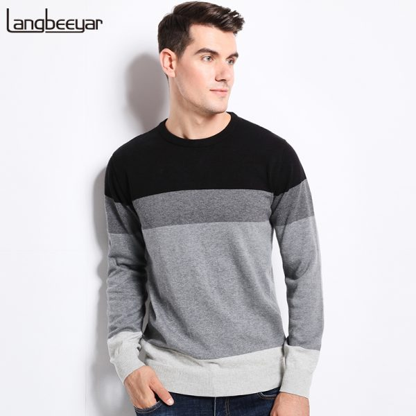 Men Pullover 100% Cotton Knitted Sweater