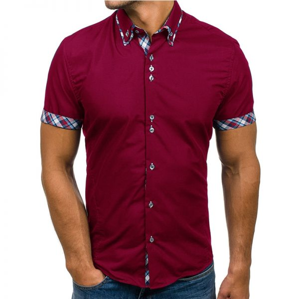 Men Shirt Fashion Slim Short Sleeve Dress
