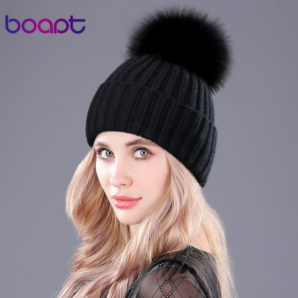 Natural Raccoon Fur Hats Knitted Braid Beanie