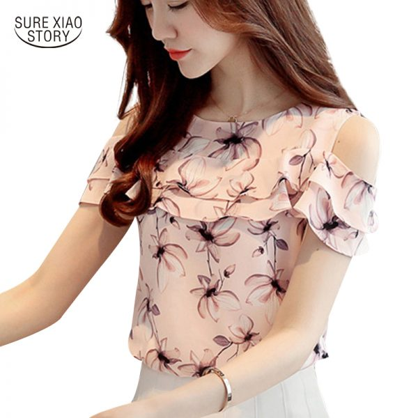 Off Shoulder Short Sleeve Blouses Floral Chiffon Shirts