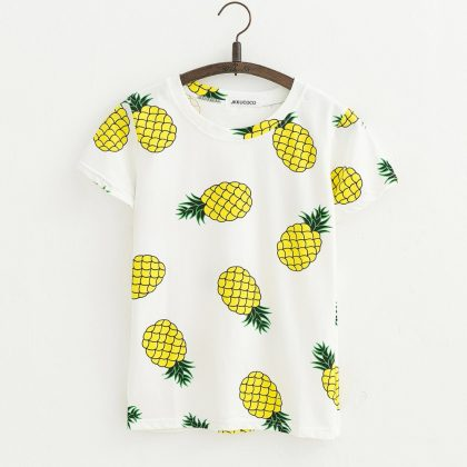 Pineapple Print Tees Short Sleeve T-shirt