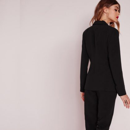 Solid Black Women Blazer Long Sleeve