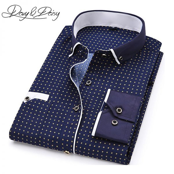 Turn-Down Collar Dress Polka Dot Print Casual Shirt
