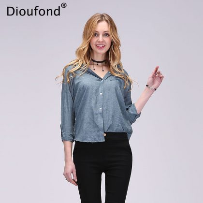 V-neck Cotton Thin Women Shirts Tops Blusas