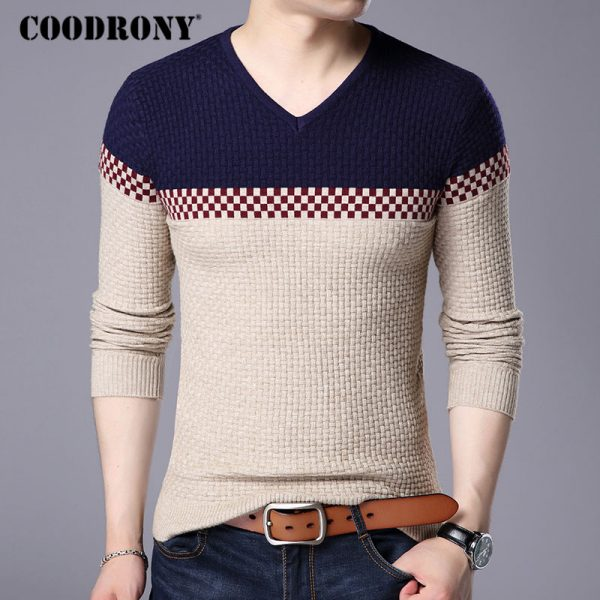 Warm Wool Sweaters V-neck Pullover