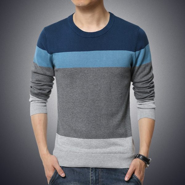 Winter Patchwork Knitted Casual Men Sweater