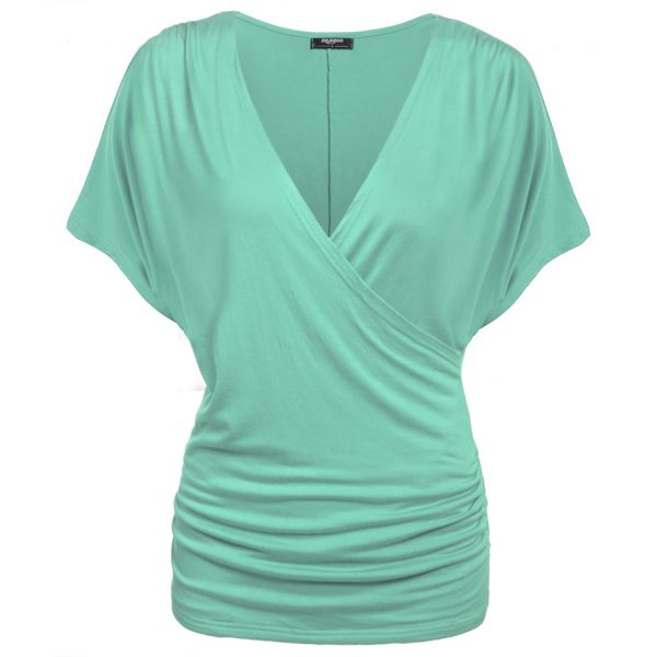 Women Crossover Deep V-Neck T-shirts