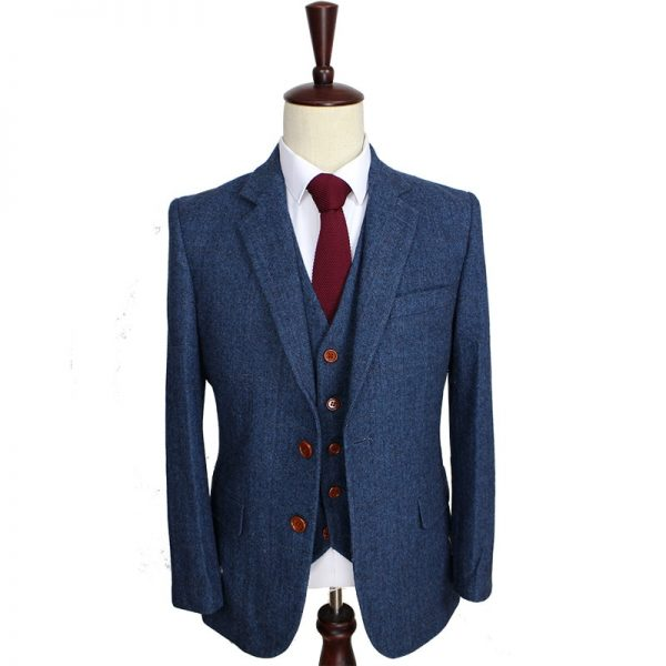 Wool Blue Herringbone Retro Custom Men's Suits
