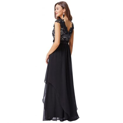 Black Lace Evening Dresses Long Party Dress