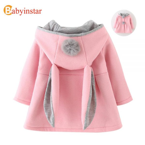 Cute Rabbit Ear Hooded Baby Girls Coat