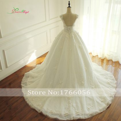 Elegant Flowers Lace Princess Wedding Dress