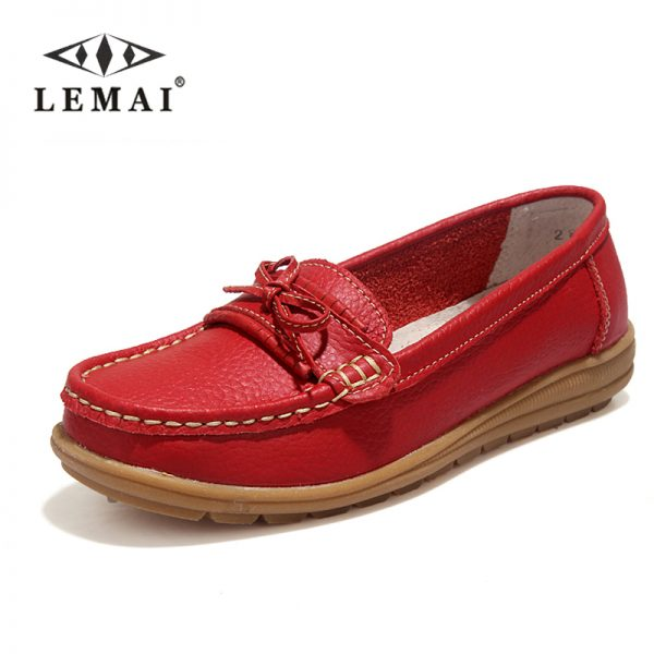 Genuine Leather Women Shoes Loafers Slip