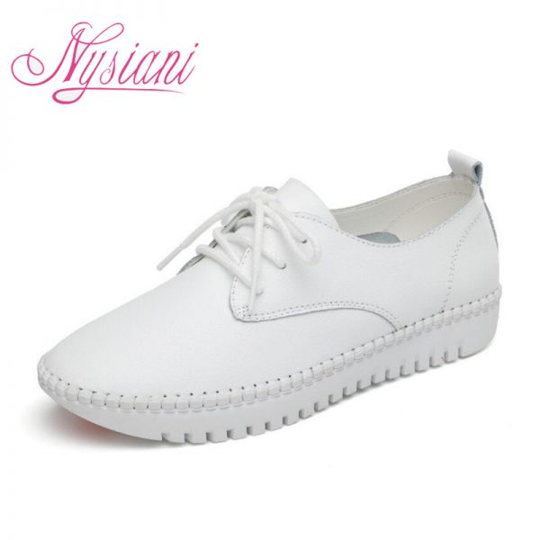 Leather Flat Shoes White Loafers Shoe
