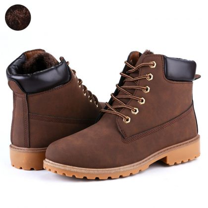 Leather Men Boots Winter Man Shoes