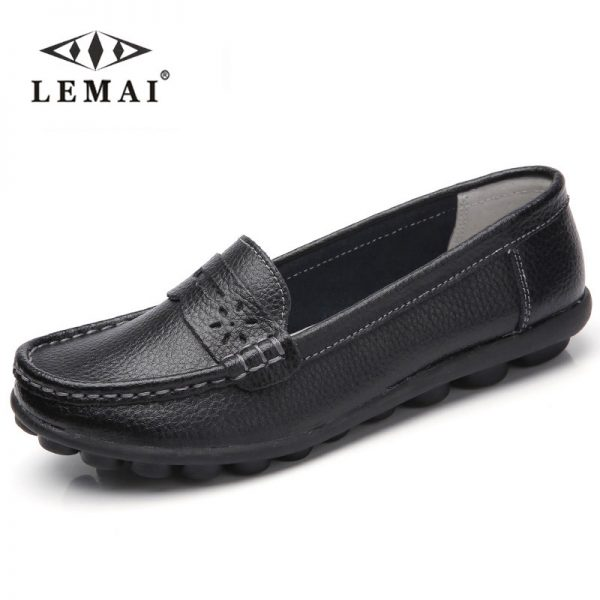 Leather Shoes Female Driving Casual Footwear