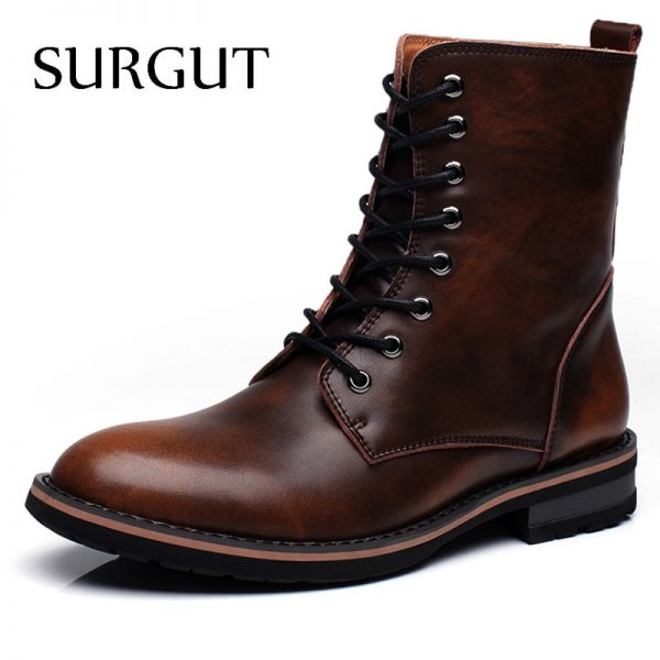 Men Motorcycle Boots Vintage Combat Boot