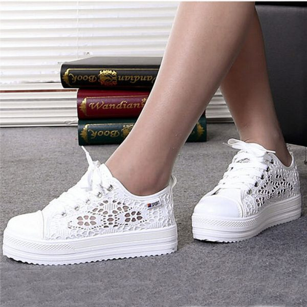 Summer Women Shoes Cutouts Lace Canvas Shoes