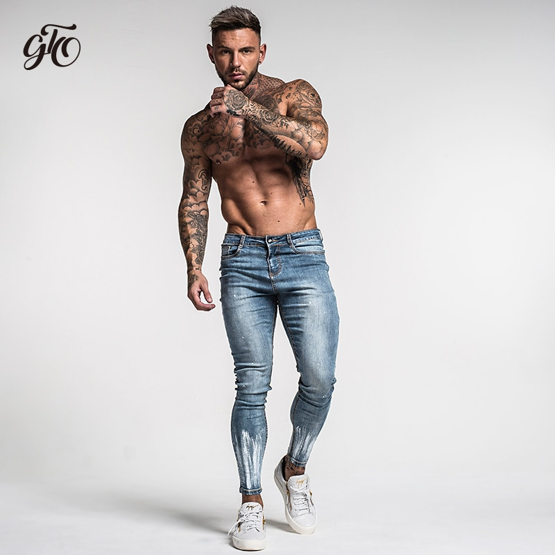 Ripped Jeans Slim Fit Ankle Tight Print Jeans