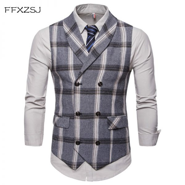 Classic Plaid Suit Vest Double Breasted Vest